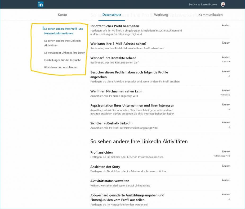 Screenshot: Datenschutzeinstellungen unbedingt so einrichten, wie Sie es haben möchten.