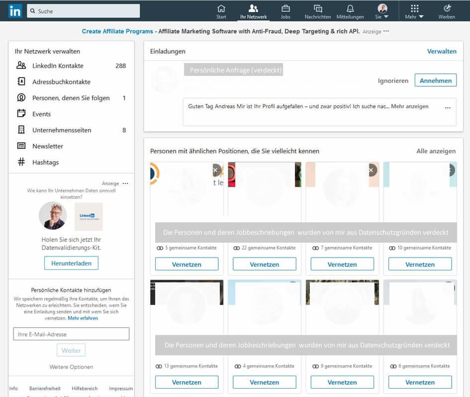 Screenshot: Auflistung von Einladungen und Personen mit ähnlichen Positionen – die Porträtbilder und Angaben der Personen wurden aus Datenschutzgründen verdeckt.